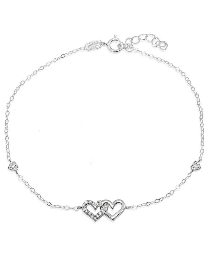 Giani Bernini - Cubic Zirconia Pavé Interlocking Hearts Ankle Bracelet in Sterling Silver or Two Tone Sterling Silver & 18K Gold-Plated Sterling Silver