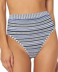 Textured Stripes High-Waisted Bikini Bottoms