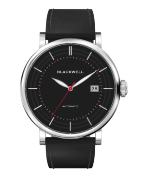 Black Dial with Silver Tone Steel and Black Leather Watch 44 mm