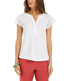 Petite Ruffled Split-Neck Top, Created for Macy's
