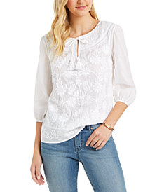 Style & Co Plus Size Cotton Embroidered Split-Neck Blouse, Created for Macy's