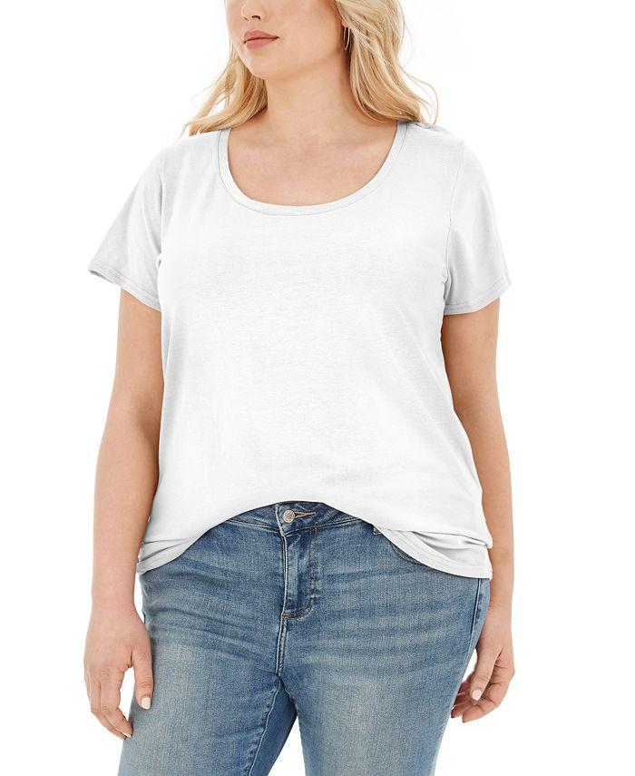 Aveto - Trendy Plus Size Scoop-Neck T-Shirt