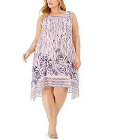Plus Size Scribble-Print Trapeze Dress