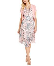 Petite Floral-Print Dress & Crochet Shrug