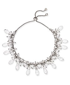 INC Silver-Tone Crystal & Shaky Bead Slider Bracelet, Created for Macy's