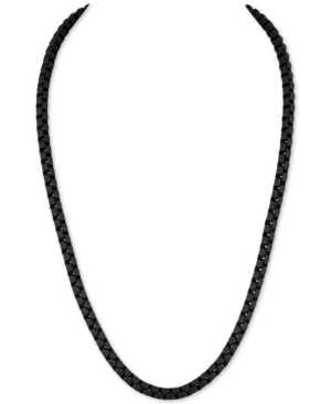 """Men's Box Link 22"""" Chain Necklace in Black Enamel over Stainless Steel (Also in Red & Blue Enamel)"""