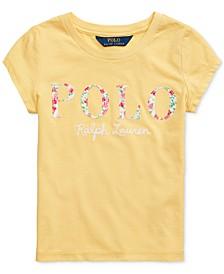 Little Girls Floral Logo Cotton Jersey T-Shirt