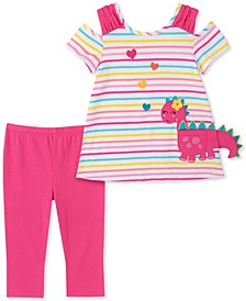 Little Girls 2-Pc. Striped Dinosaur Top & Leggings Set