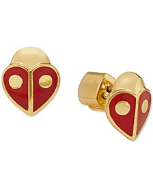 Gold-Tone Red Heart Ladybug Stud Earrings