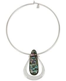 "Silver-Tone Oval Stone 16-1/2"" Wire Collar Pendant Necklace"