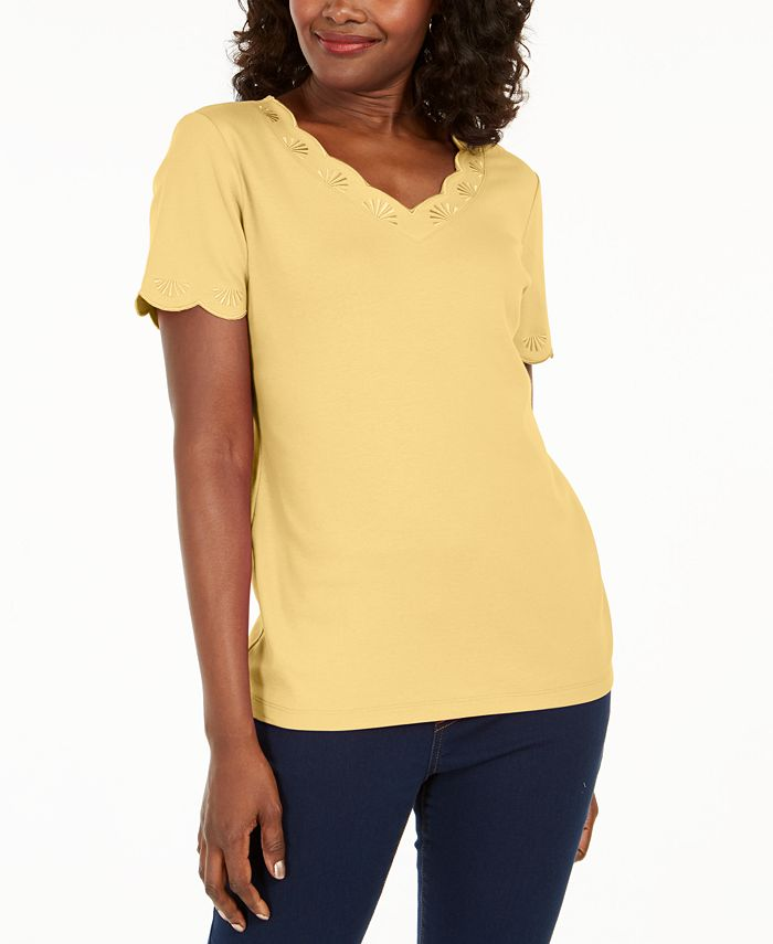 Karen Scott - Plus Size Scallop-Trim Cotton Top