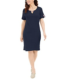 Petite Cotton Split-Neck Dress, Created for Macy's