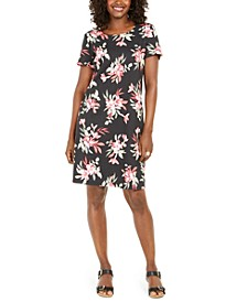 Petite Printed Scoop-Neck Dress, Created for Macy's