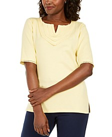 Plus Size Cotton Crochet-Trim Split-Neck Top, Created for Macy's