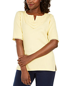 Karen Scott Plus Size Cotton Crochet-Trim Split-Neck Top, Created for Macy's