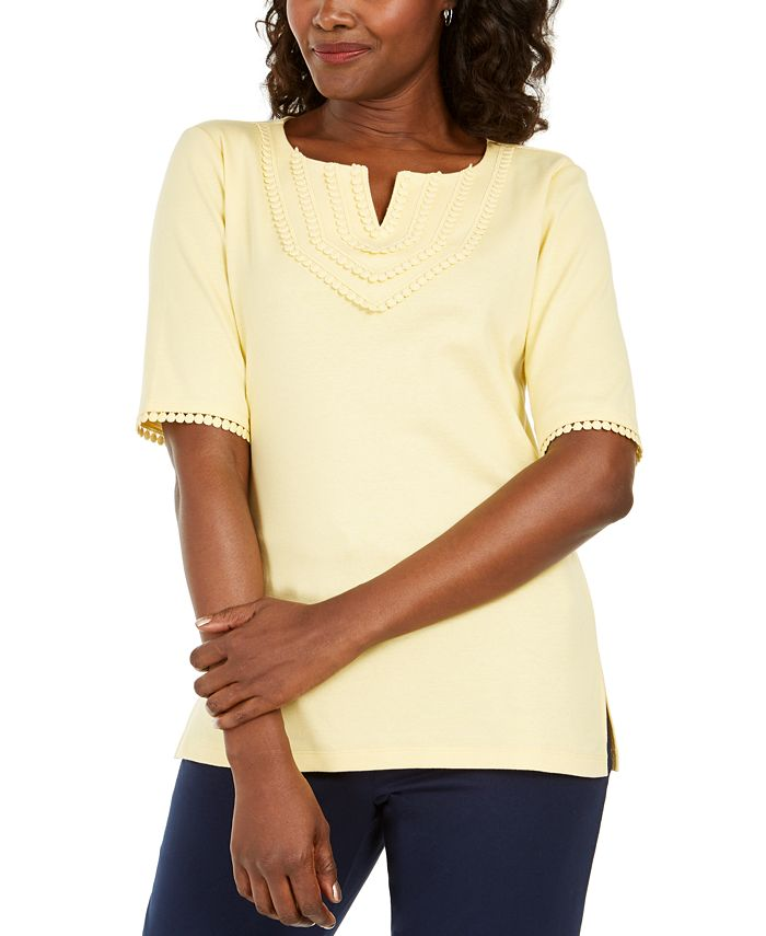 Karen Scott - Plus Size Cotton Crochet-Trim Split-Neck Top