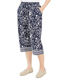 Petite Border-Print Capri Pants, Created for Macy's