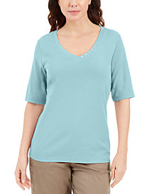 Karen Scott Button-Detail V-Neck Top, Created for Macy's