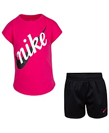 Little Girls 2-Pc. Script Futura T-Shirt & Shorts Set