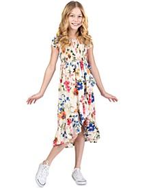 Toddler Girls Floral-Print Ruffled Midi Dress