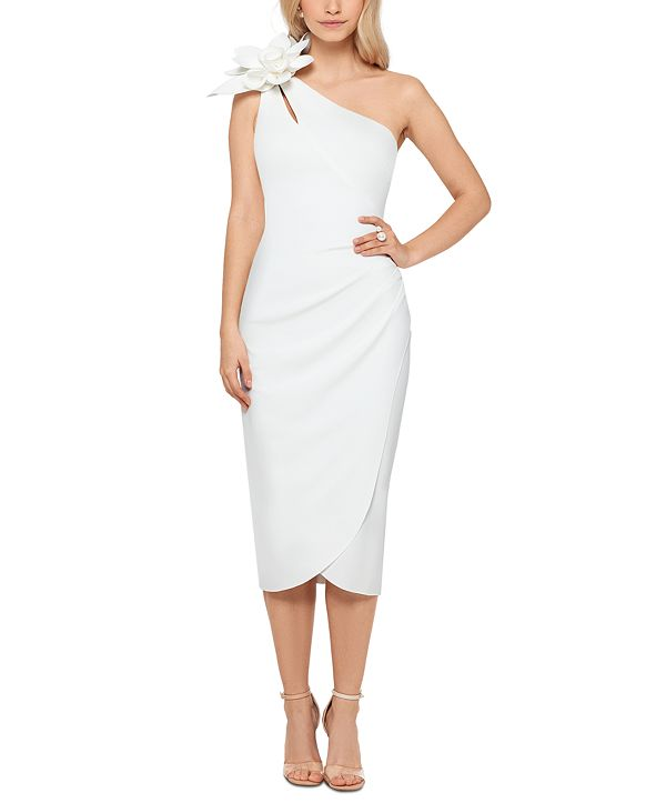 XSCAPE Flower-Trim One-Shoulder Sheath Dress