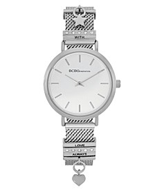 Ladies 2 Hands Slim Silver-Tone Mesh Watch, 34 mm Case