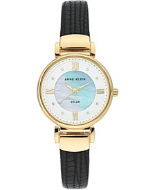 Women's Considered Solar-Powered Black Vegan Leather Strap Watch 30mm