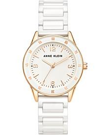 Women's White Ceramic Bracelet Watch 33mm