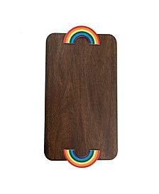 Wood Serve Board with Rainbow Handles