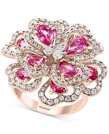 EFFY® Pink Sapphire (3-3/4 ct.t.w.) & Diamond (7/8 ct. t.w.) Flower Statement Ring in 14k Rose Gold