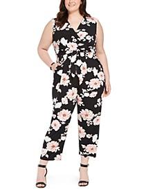 Plus Size Floral Jersey Jumpsuit