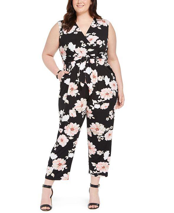 Jessica Howard Plus Size Floral Jersey Jumpsuit