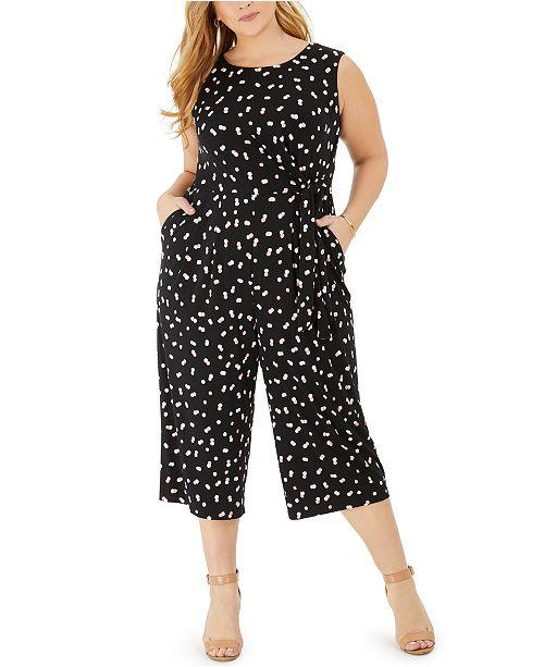 Jessica Howard Plus Size Double-Dot Jersey Jumpsuit