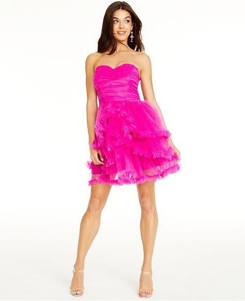 Betsey Johnson Ruched Ruffled Dress