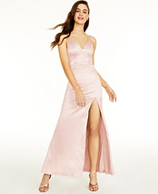 Juniors' Lace-Back Gown