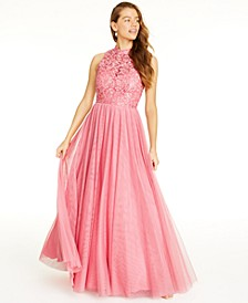 Juniors' Embroidered-Floral Gown