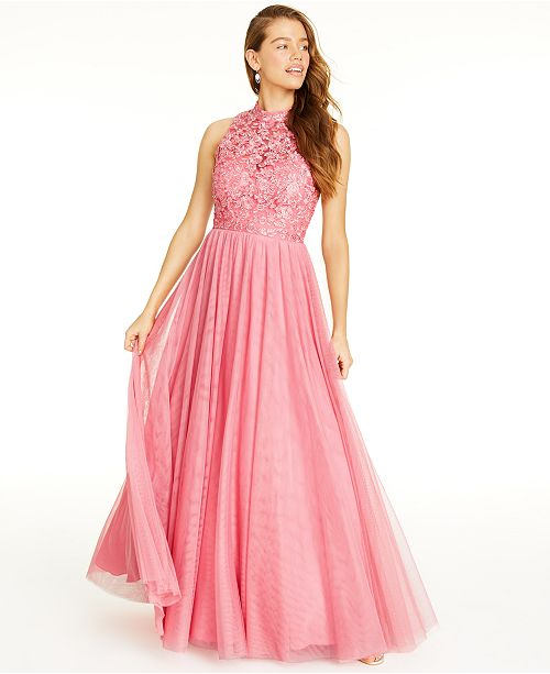 City Studios Juniors' Embroidered-Floral Gown