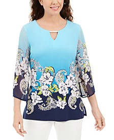 Plus Size Embellished Keyhole Top, Created for Macy's