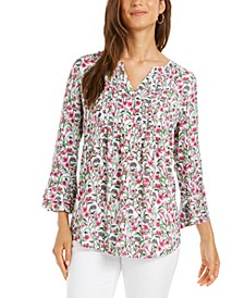 Petite Floral-Print Pintucked Top, Created for Macy's
