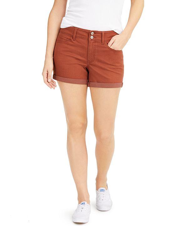 Rewash Juniors' Cuffed Colored Denim Shorts