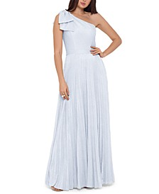 Petite Metallic Pleated One-Shoulder Gown