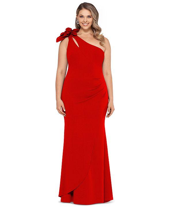 XSCAPE Plus Size One-Shoulder Floral-Detail Gown