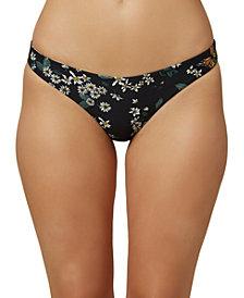 O'Neill Juniors' Raven Printed Reversible Hipster Bikini Bottoms, Created for Macy's