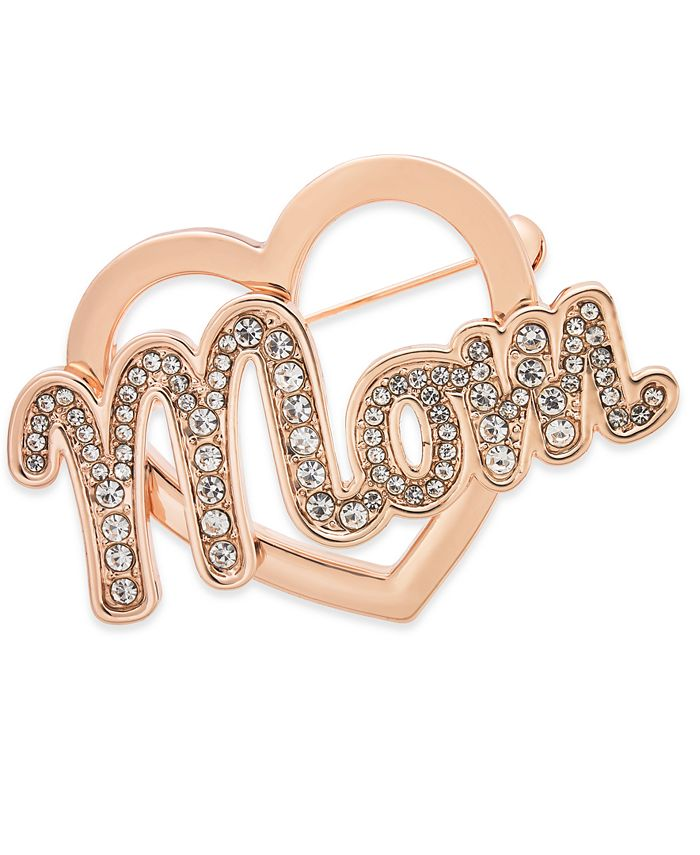 Charter Club - Rose Gold-Tone Crystal Mom Heart Pin