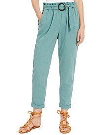 Juniors' Linen Belted Paperbag Waist Pants