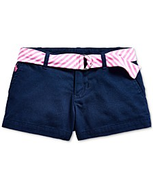 Toddler Girls Belted Cotton Chino Shorts