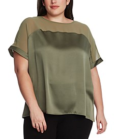 Plus Size Chiffon-Yoke Top
