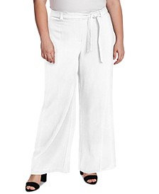 Plus Size Twill Wide-Leg Pants