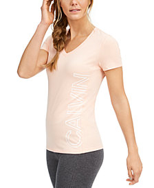 Calvin Klein Performance Outline-Logo V-Neck T-Shirt