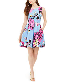 Taylor Petite Floral-Print Fit & Flare Dress